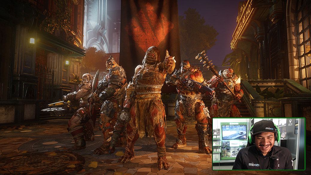 A streamer plays Gears 5, A group of 5 locusts pose before the start of a multiplayer match