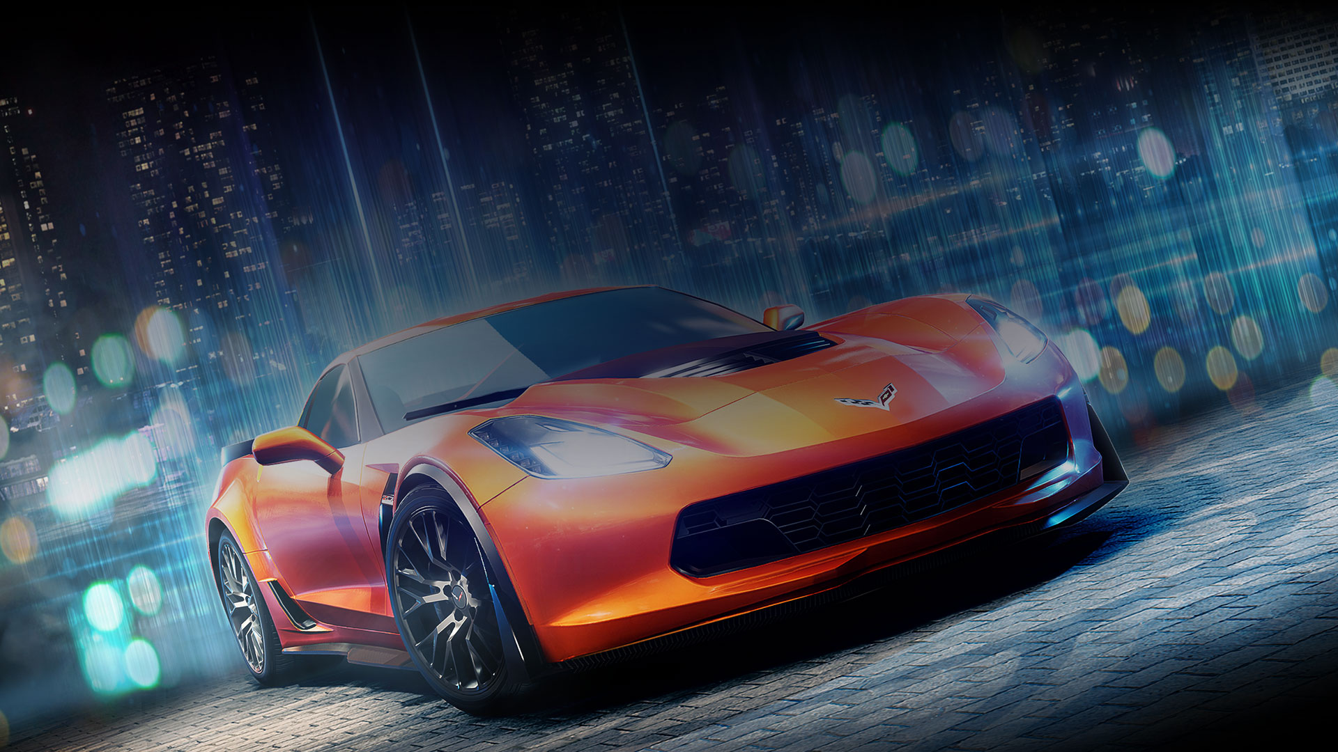 Front view of orange corvette