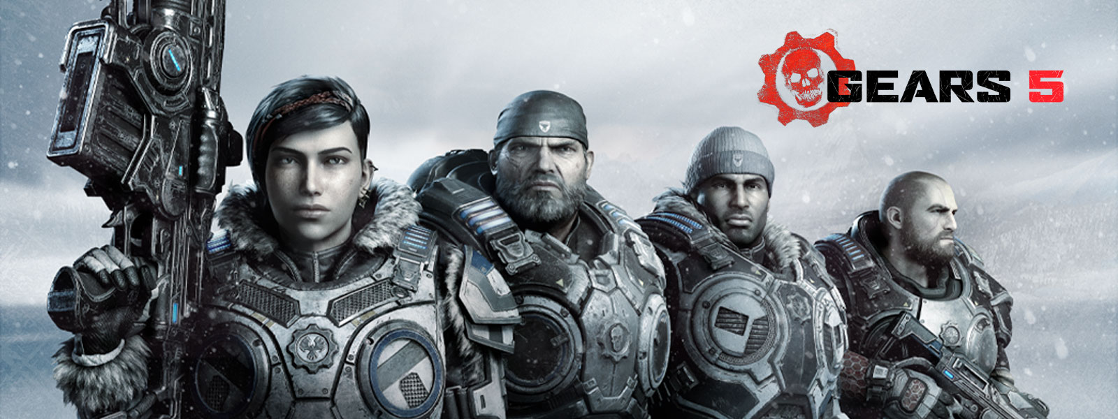 Kait Diaz and other characters from Gears 5 stand in a line with their weapons drawn