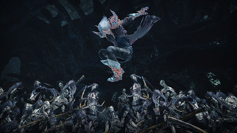 Dante jumps over a horde of undead