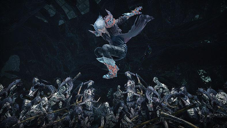 Dante salta sobre una horda de muertos vivientes