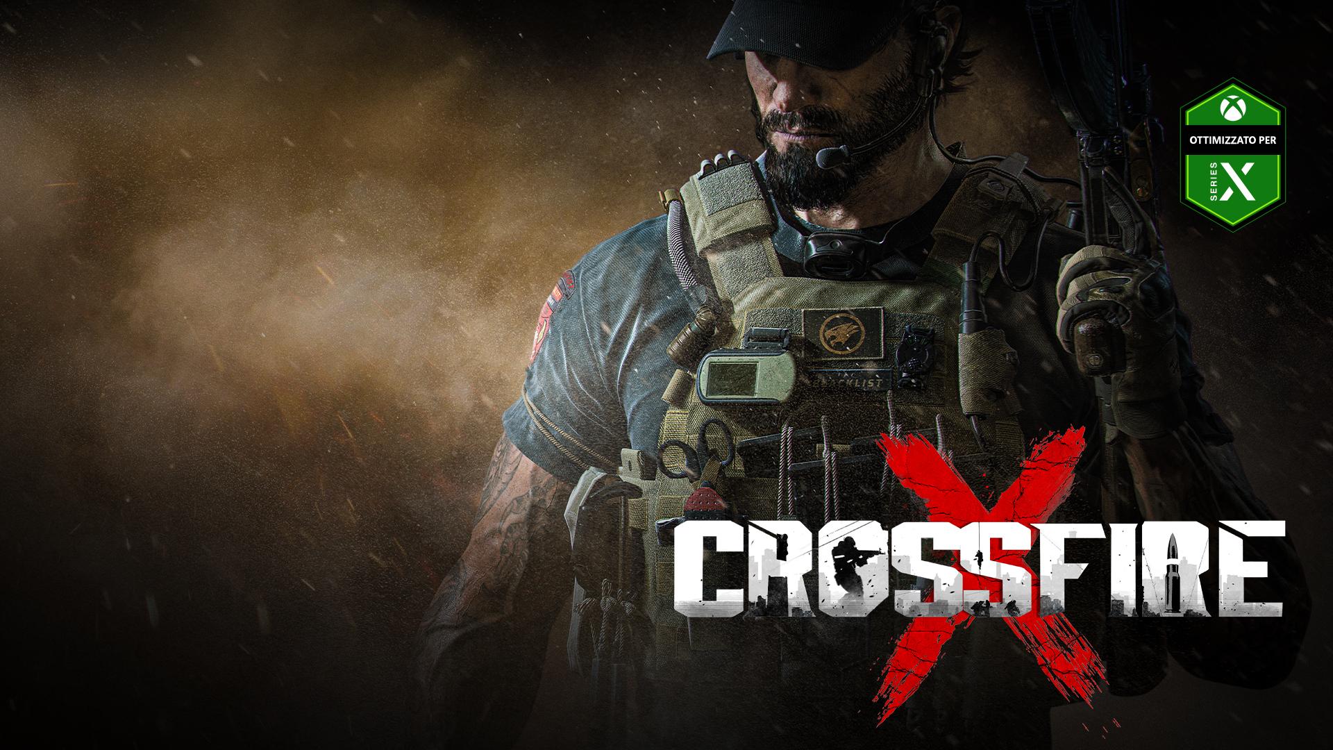 CrossfireX, Ottimizzato per Xbox Series X, un uomo armato fino ai denti in piedi tra fumo e cenere