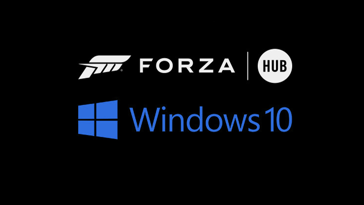 logo de windows 10 y forza hub