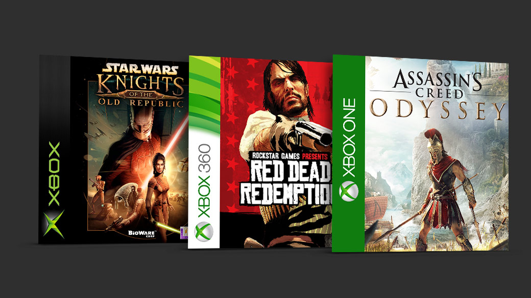 Kollage af Knights of the Old Republic, Red Dead Redemption, Assassins Creed Odyssey