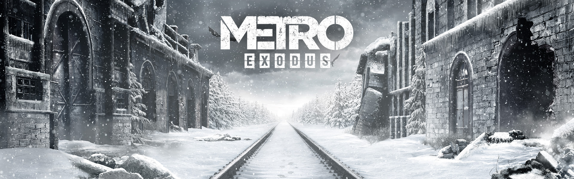 Metro Exodus, snow covered train tracks in Russia with buildings on both sides