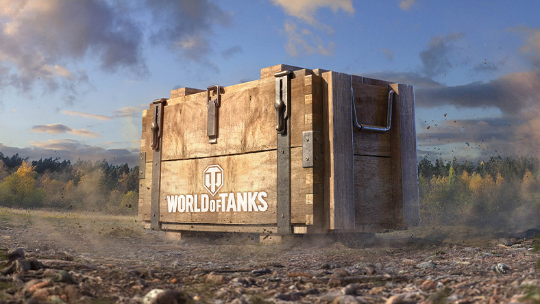 A gigantic wooden box labeled with the World of Tanks logo