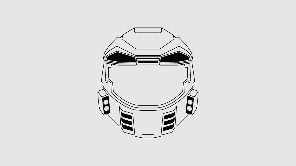 Illustration of the Master Chief helmet from Halo: Combat Evolved