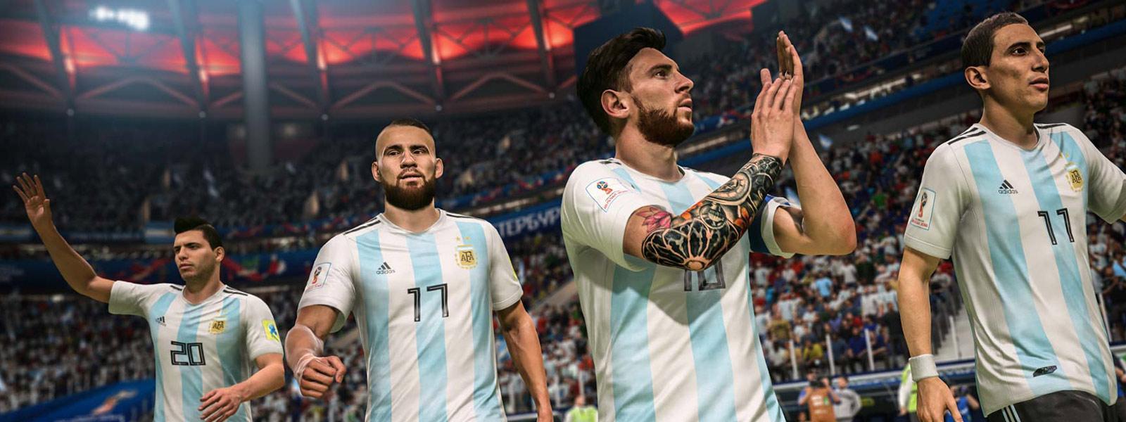 Quatre joueurs de l'Argentine applaudissant le public avant un match