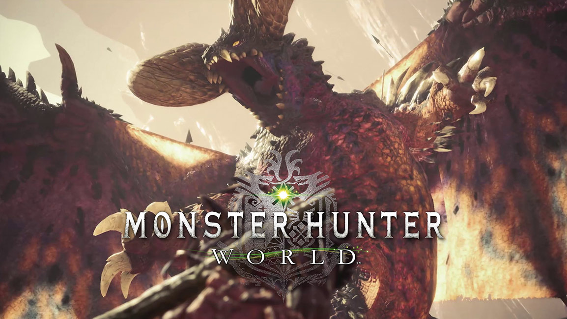 Monster Hunter World, Massive monster with mouth open starts to swipe at hunter
