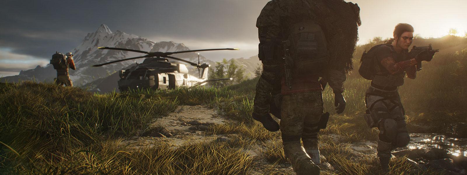 Personage dat een andere persoon op zijn schouders naar een helikopter draagt, terwijl twee andere personages de boel bewaken