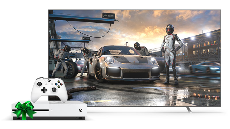 Xbox One S with a 4k Television showing a Forza driver