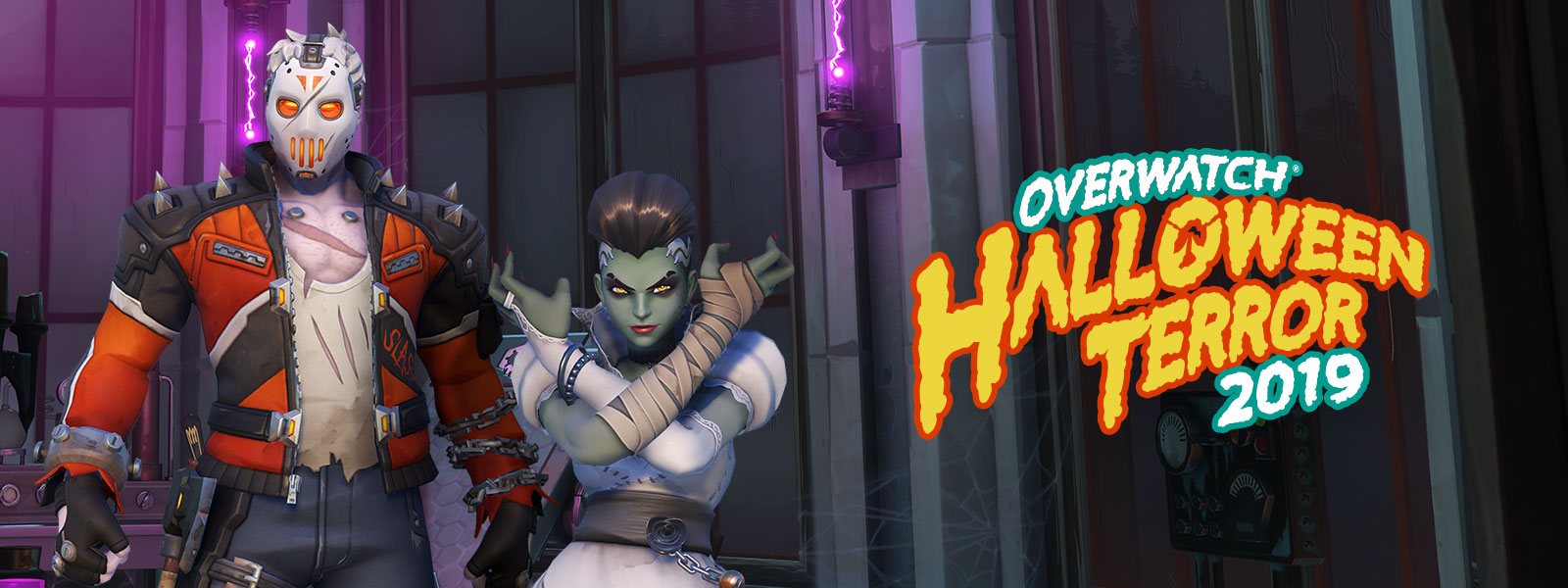 Overwatch Halloween Terror 2019 logo, two characters in Halloween skins in an old building with purple electricity and spider webs