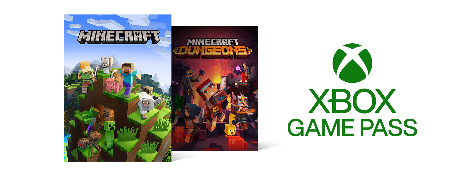 Xbox Game Pass logo with Minecraft and Minecraft Dungeons box art