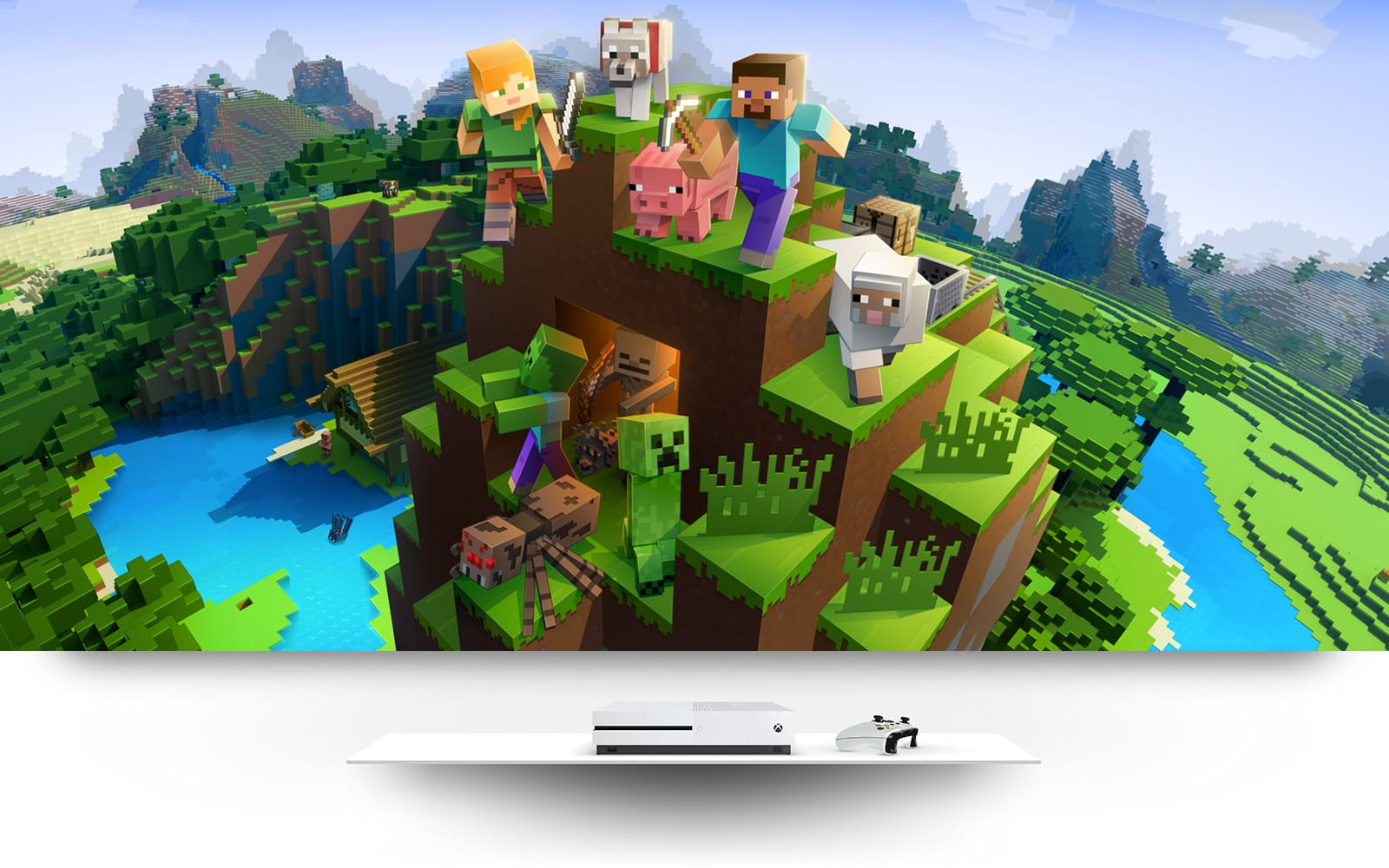 Minecraft world with minecraft players and animals