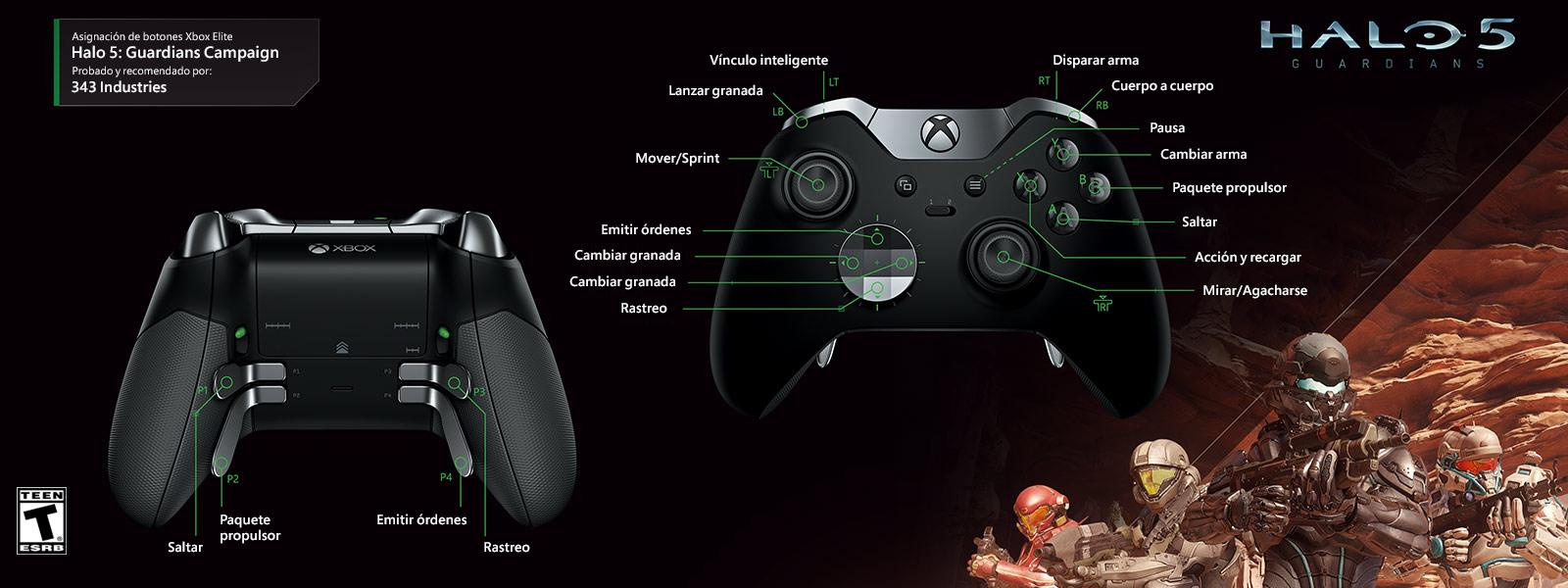 Campaña Halo 5: Guardians (asignación de funciones del control Elite)
