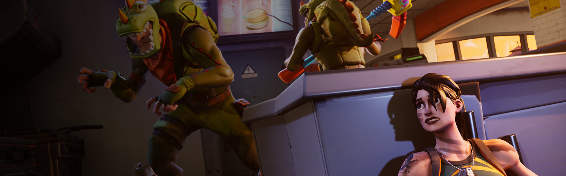 A female character hides behind a counter while 2 characters in dinosaur costumes look for her