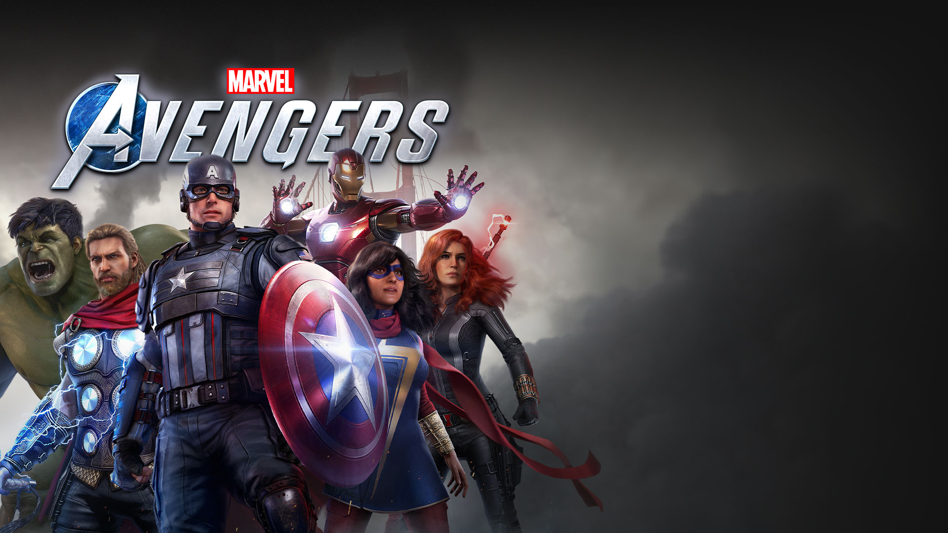 Marvel Avengers logo, Hulk, Thor, Captain America, Ms. Marvel, Iron man, and Black Widow posing in front of the Golden Gate Bridge during a storm