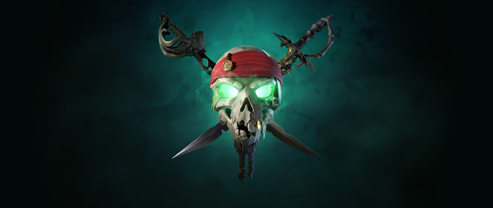 Two swords and a skull with glowing green eyes wearing Captain Jack Sparrow's  headband with a coin on a teal ombre background