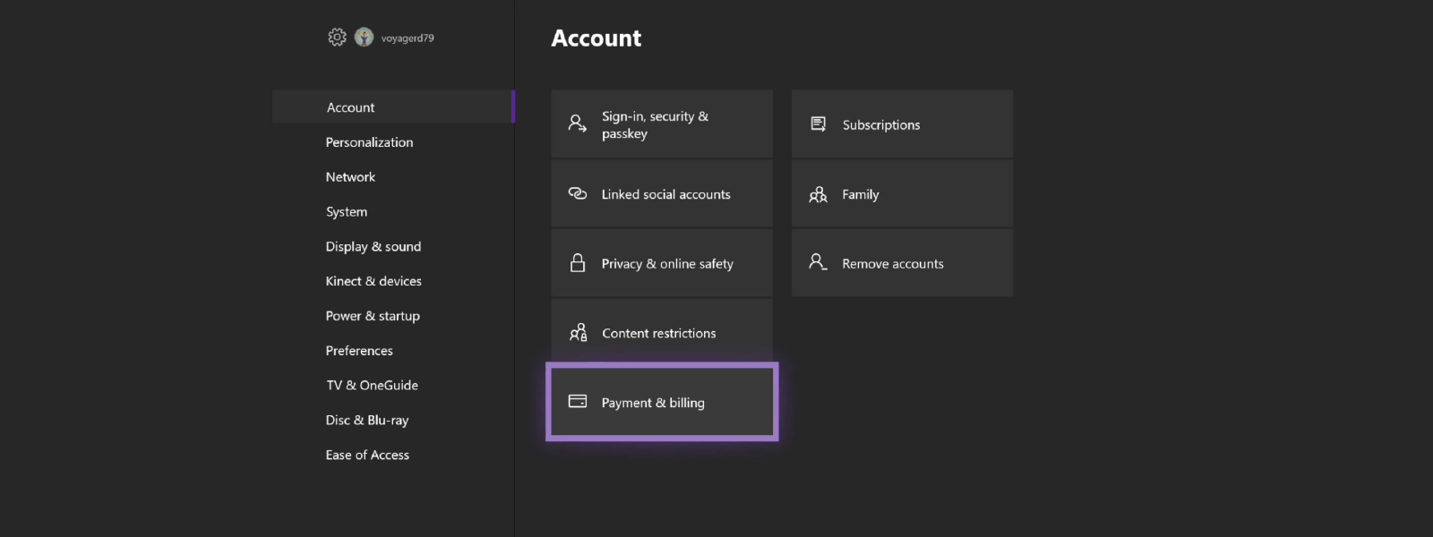 settings showing accounts details
