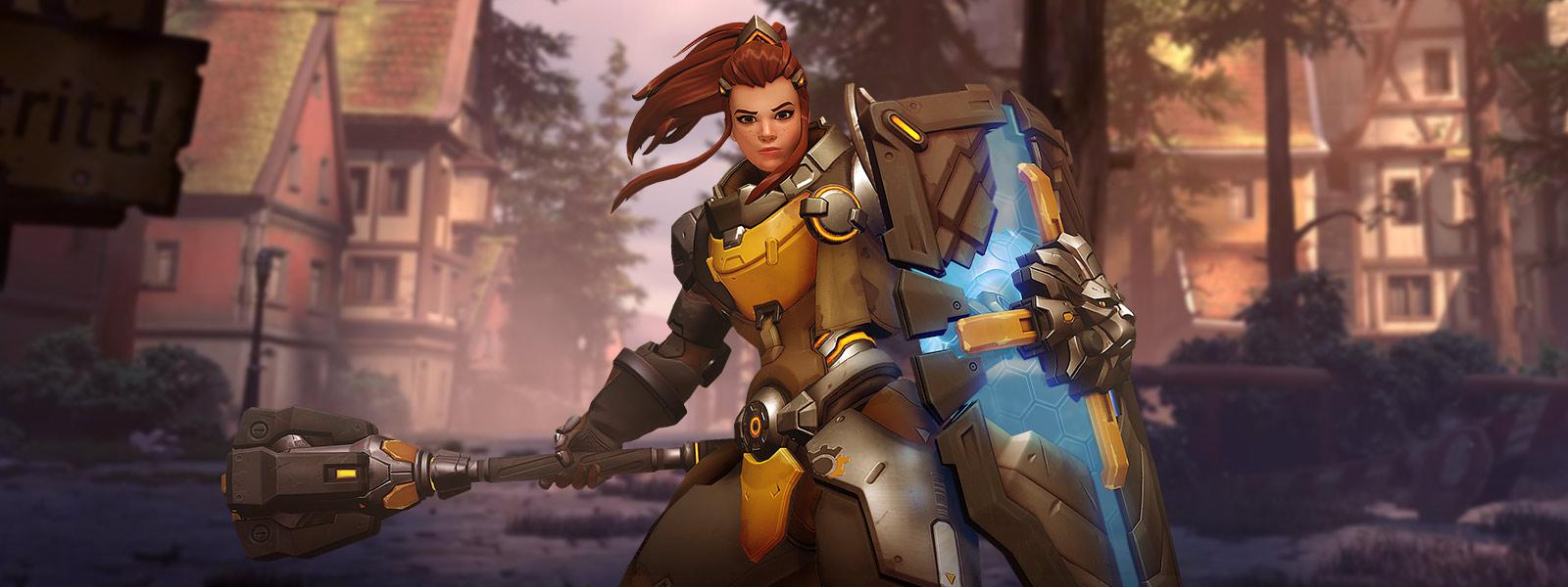 Vista frontal del personaje Brigitte que sostiene un mangual y escudo