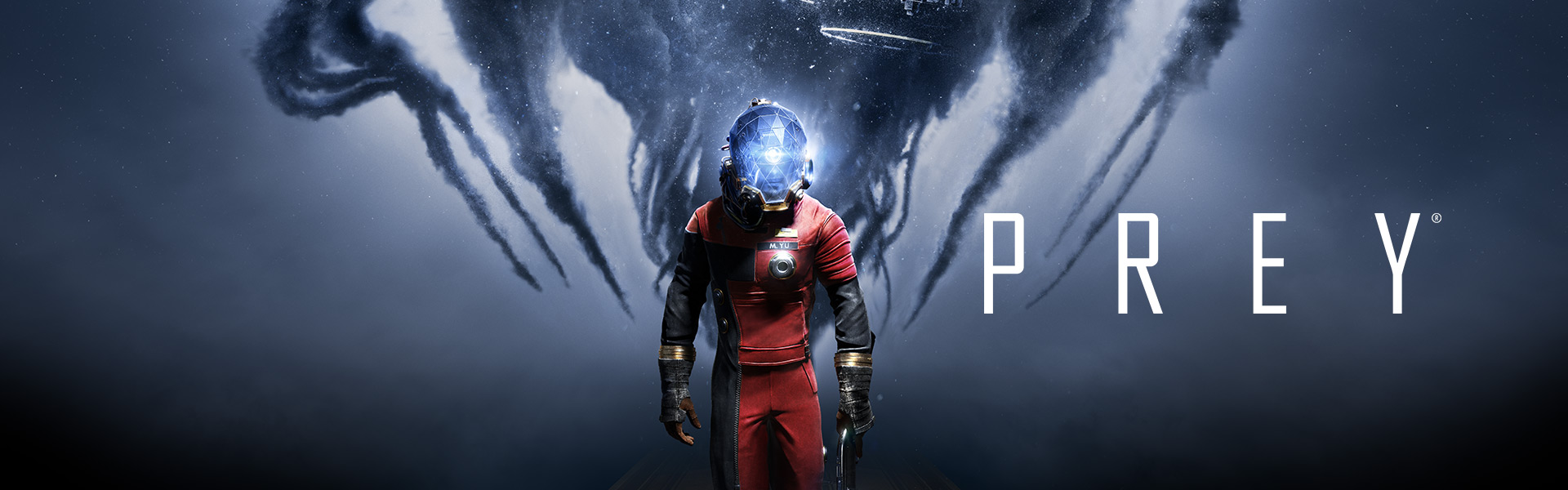 Prey, Morgan Yu holds a shotgun while space appears behind in smoke