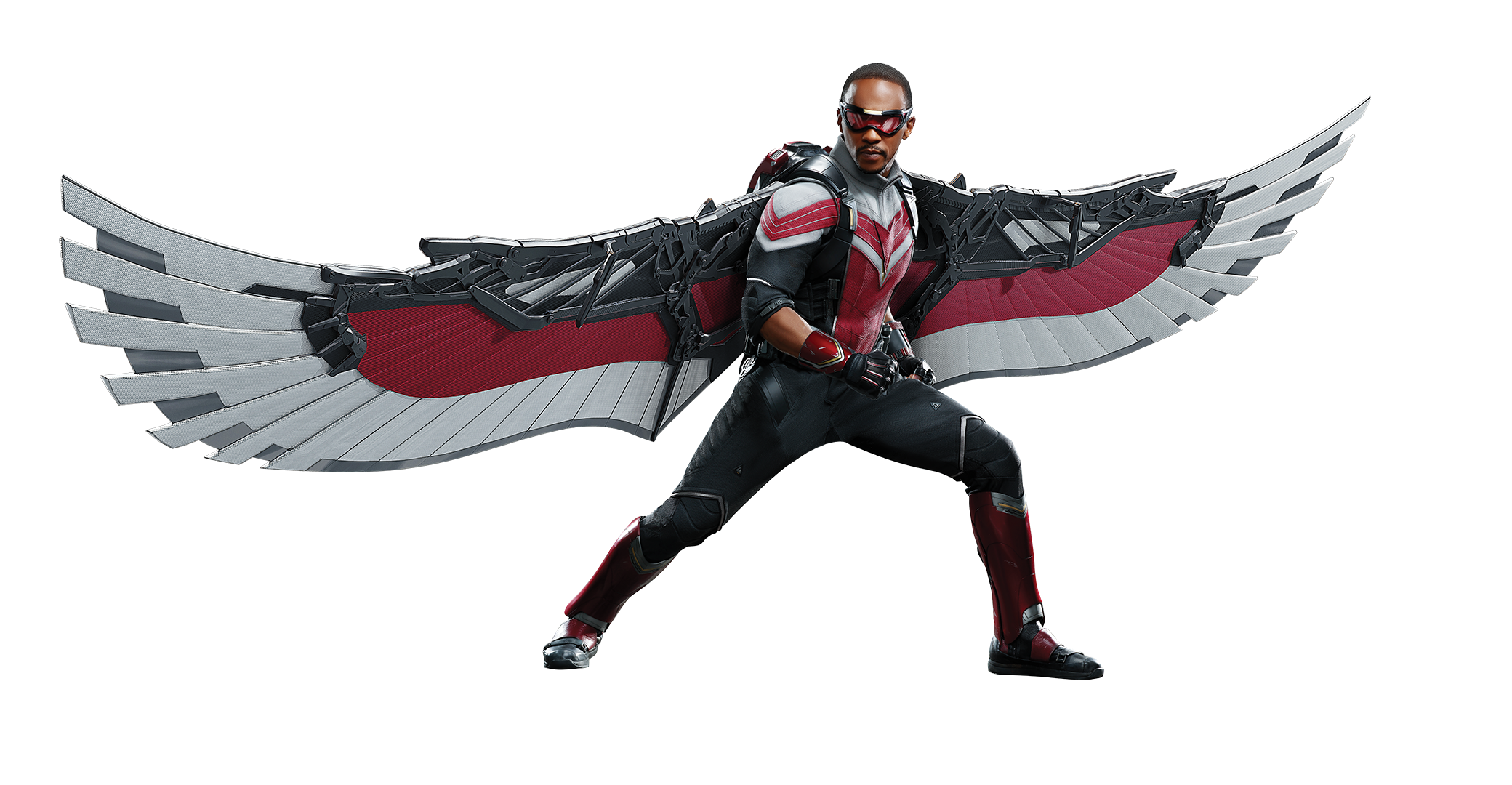 Sam Wilson, played by Anthony Mackie, in his winged Falcon costume