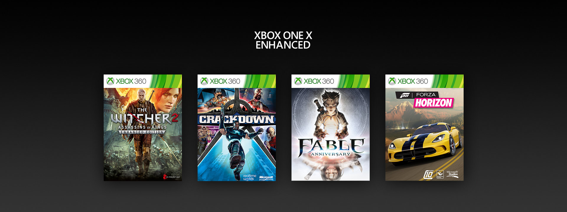 Xbox One X Enhanced logo - Witcher 2, Crackdown, Fable Anniversary, Forza Horizon boxshots