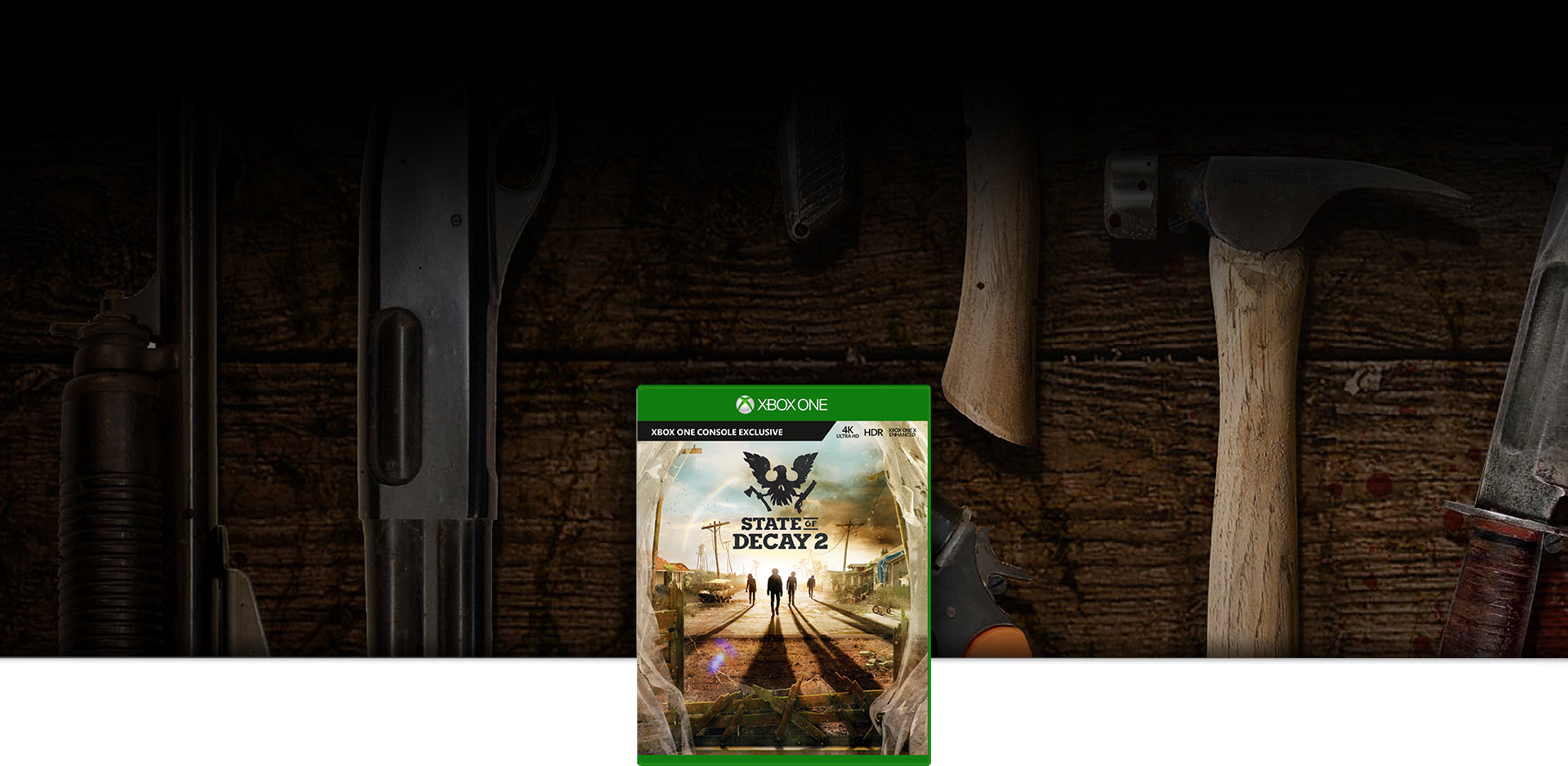 State of Decay 2 Boxshot with tools to use against zombies in the background