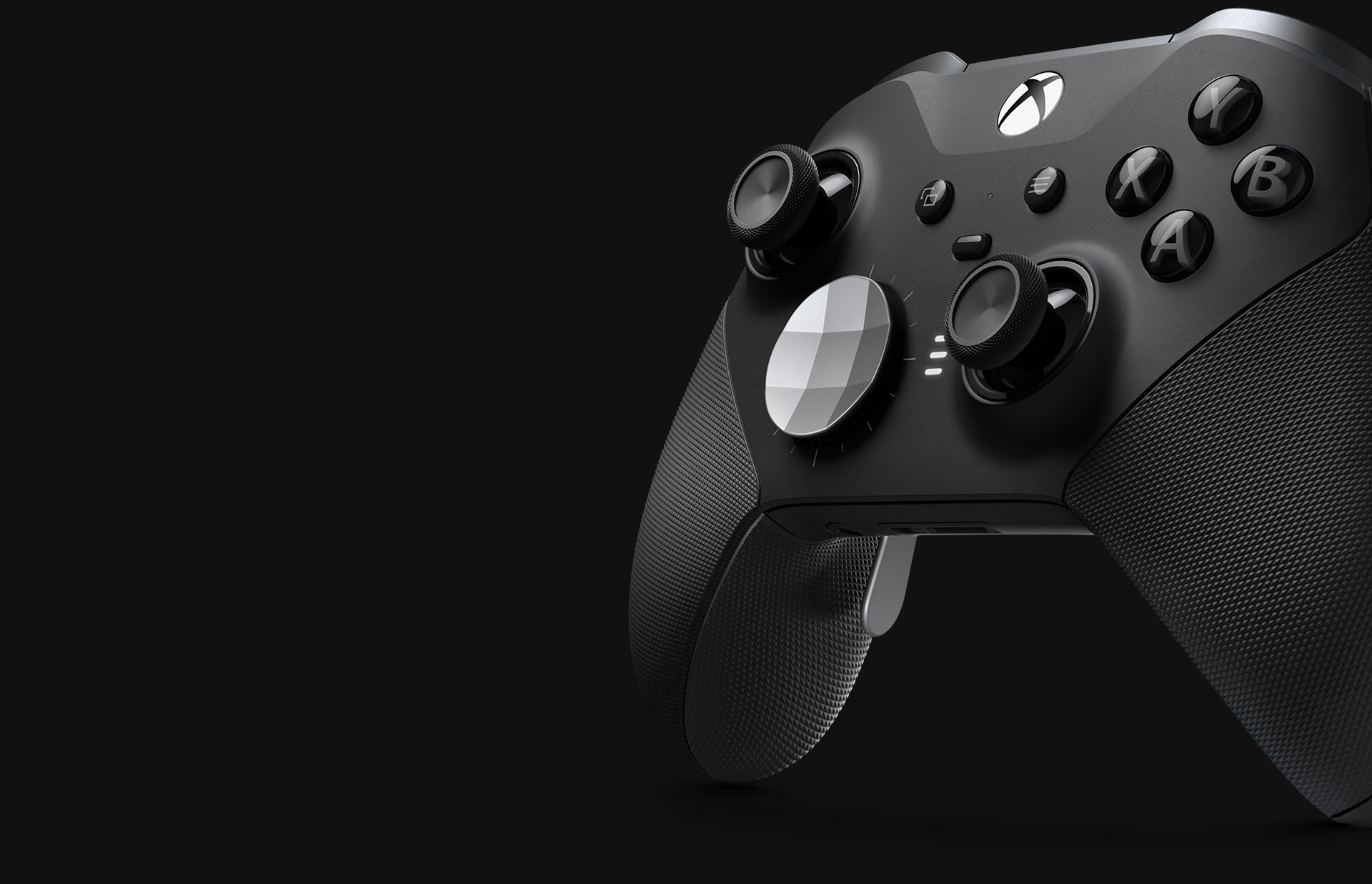 Close up angled view of the Xbox Elite Wireless controller series 2