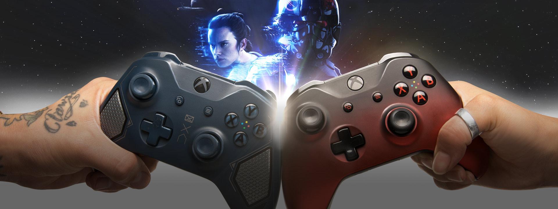 Hände halten Xbox-Controller in den Farben Recon Tech und Volcano Shadow, mit Rey und einem imperialen Commander im Hintergrund