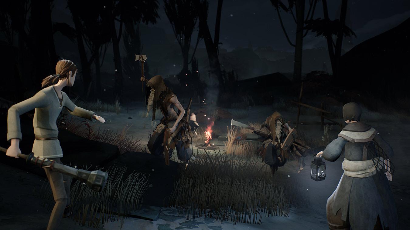 Dos personajes se encuentran con dos banditos en un pequeño campamento