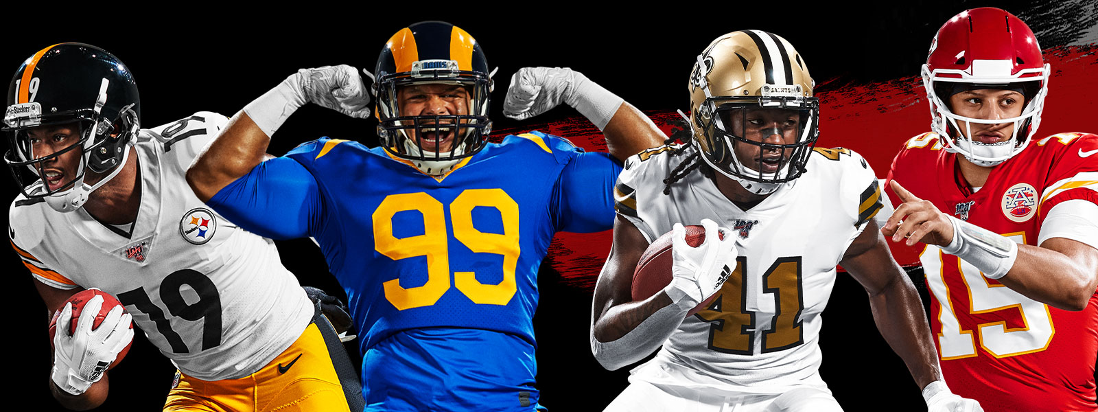 Four American football players in full gear in different poses with black and grey paint strokes on a black background
