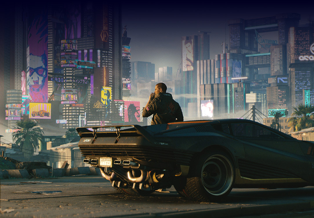 Animation of Male V standing in front of his car while smoking a cigarette and looking over the Cyberpunk city