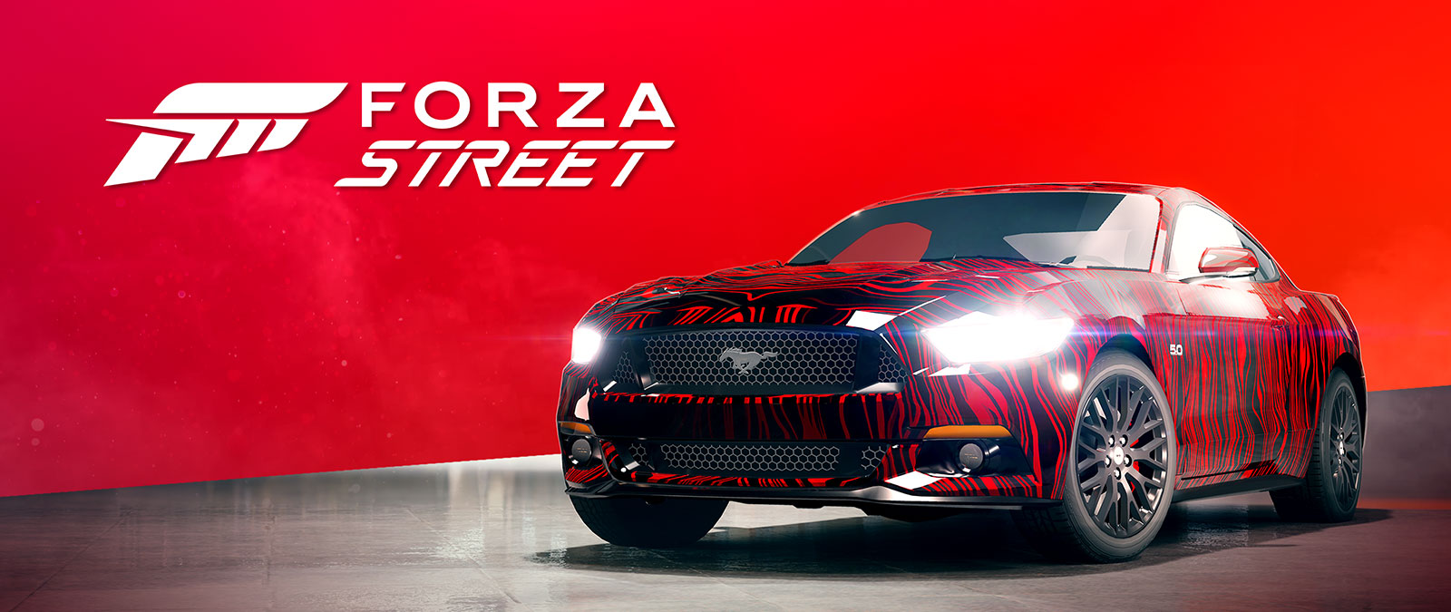 Forza Street logo, 2015 Ford Mustang with galaxy paint