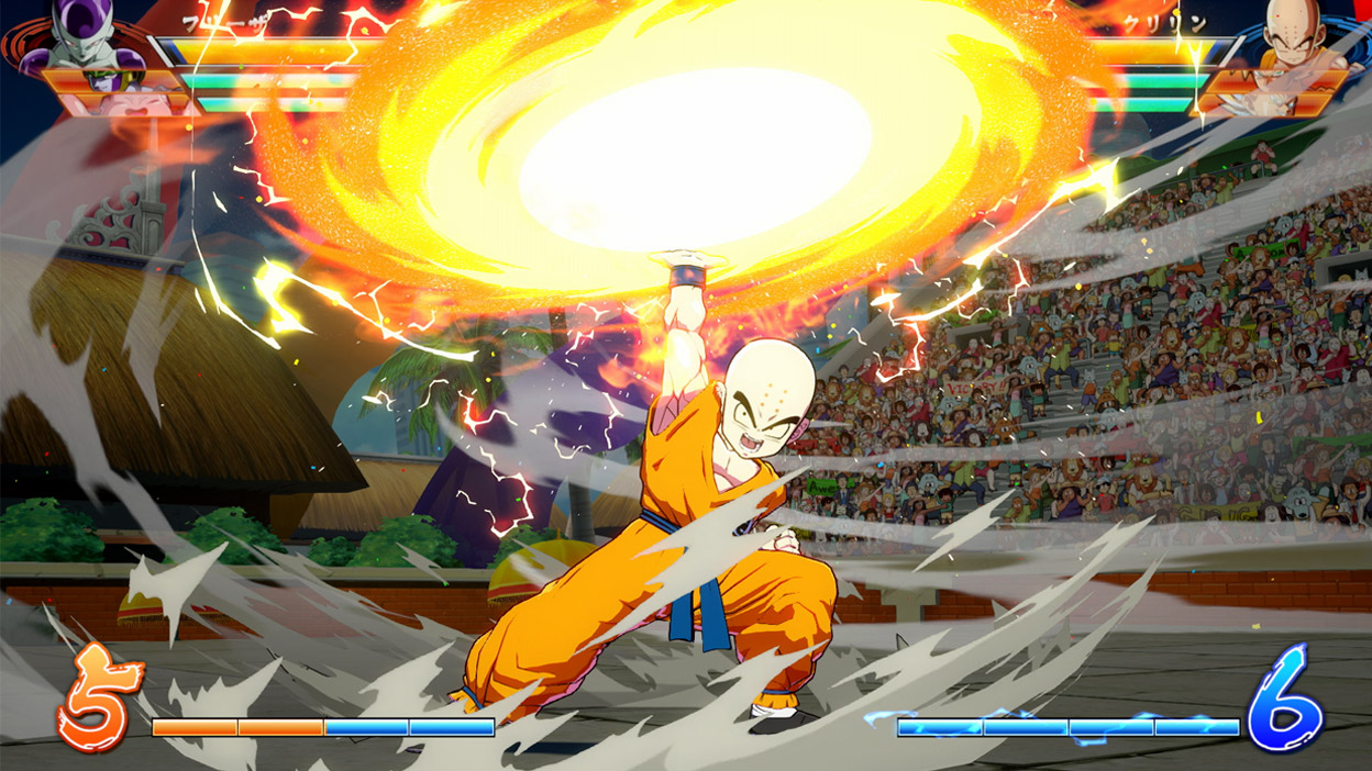 Krillin spins a fiery disc above his head.