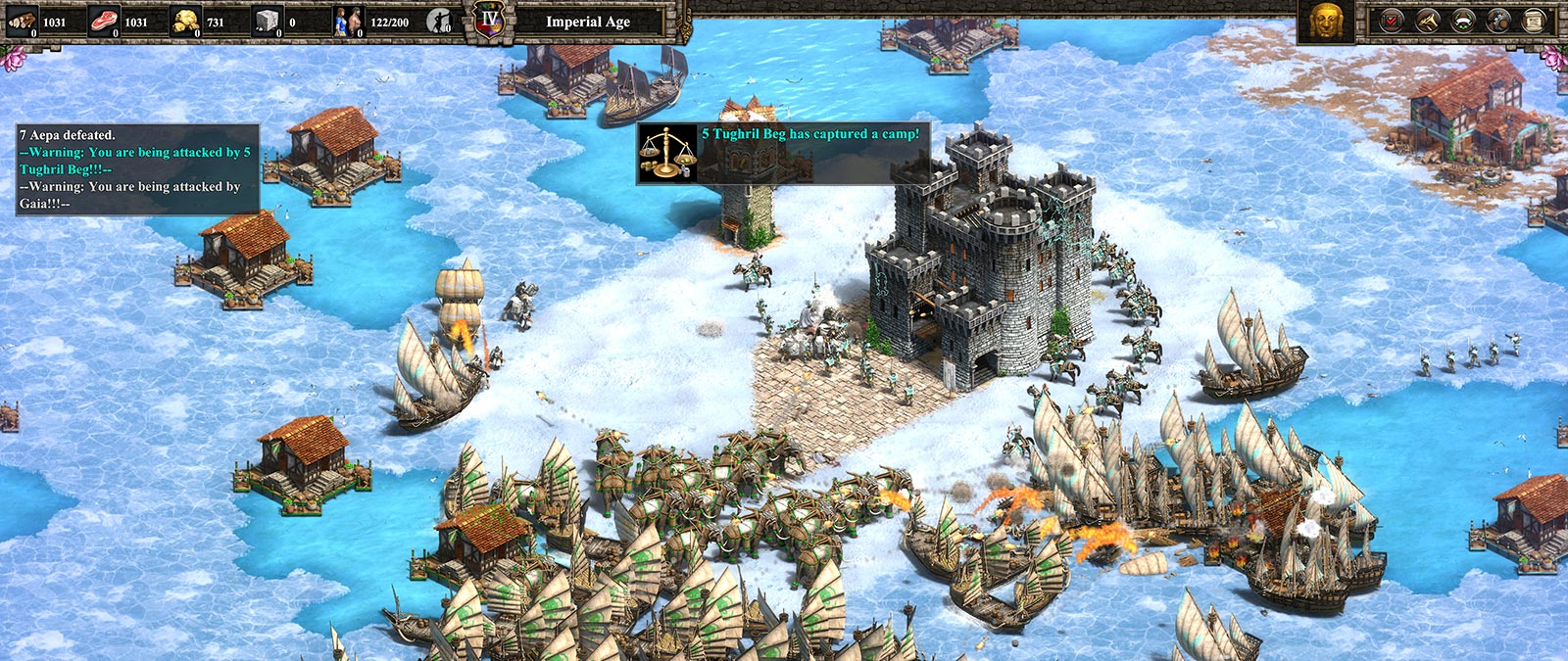 Screenshot des Gameplays aus Age of Empires II: Definitive Edition. Eine Kampfszene in Schnee und Eis.