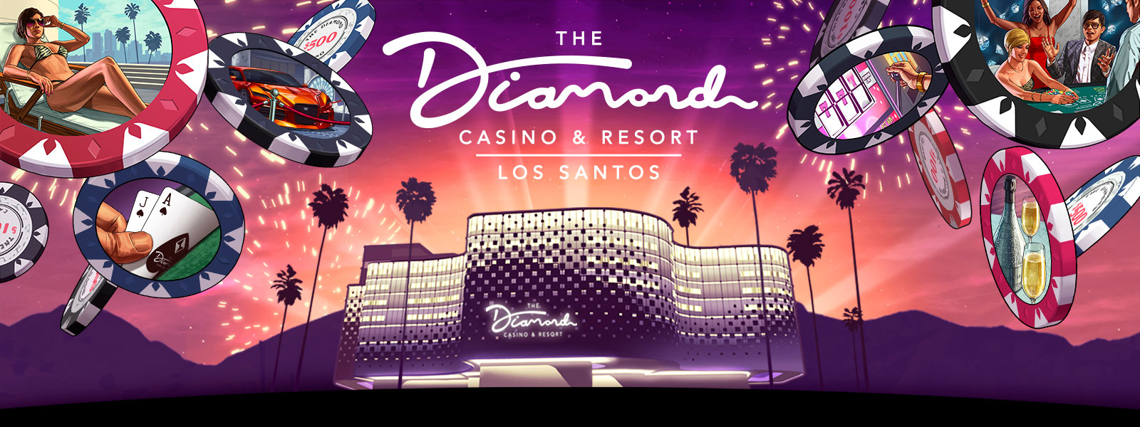 The Diamond Casino & Resort, Los Santos logo, front view of a building with palm trees, fireworks, and casino chips falling with various images on them