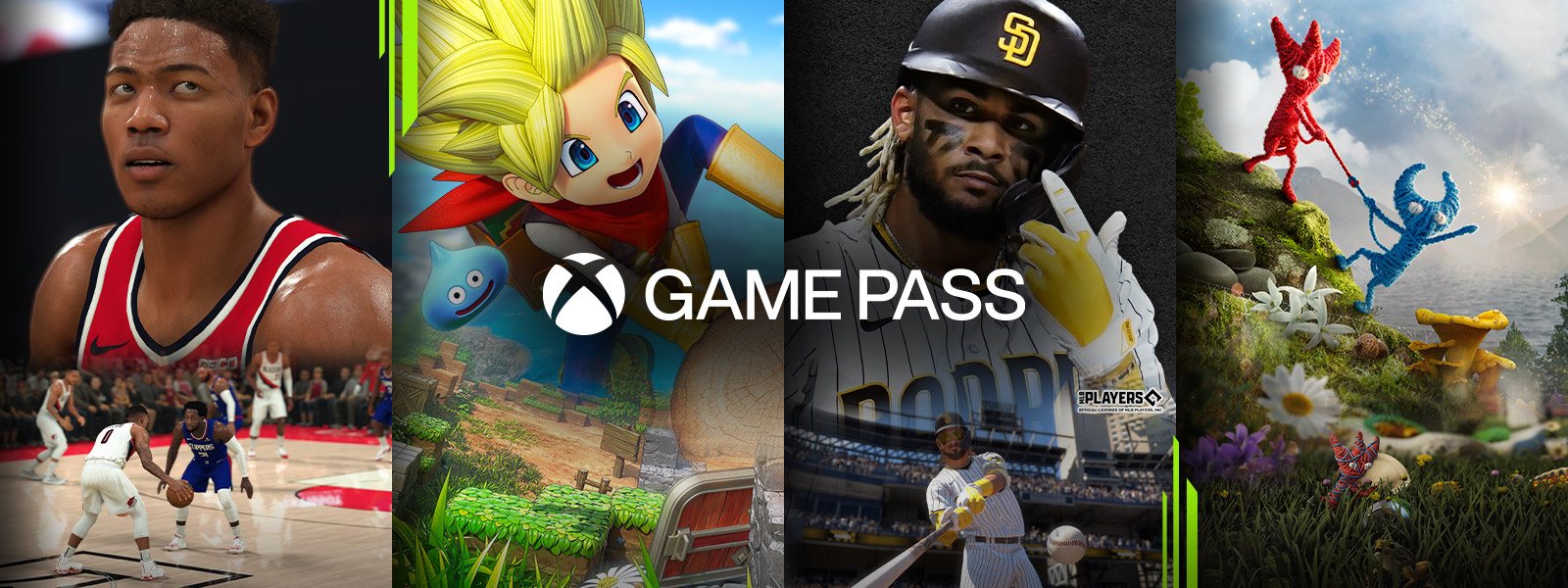 Game characters from games available through Xbox Game Pass Ultimate, including NBA 2K21 and MLB® The Show™ 21.