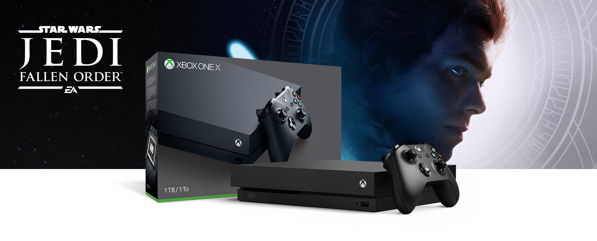 Xbox One X console in front of a hardware bundle box featuring Star Wars Jedi: Fallen Order Deluxe Edition art