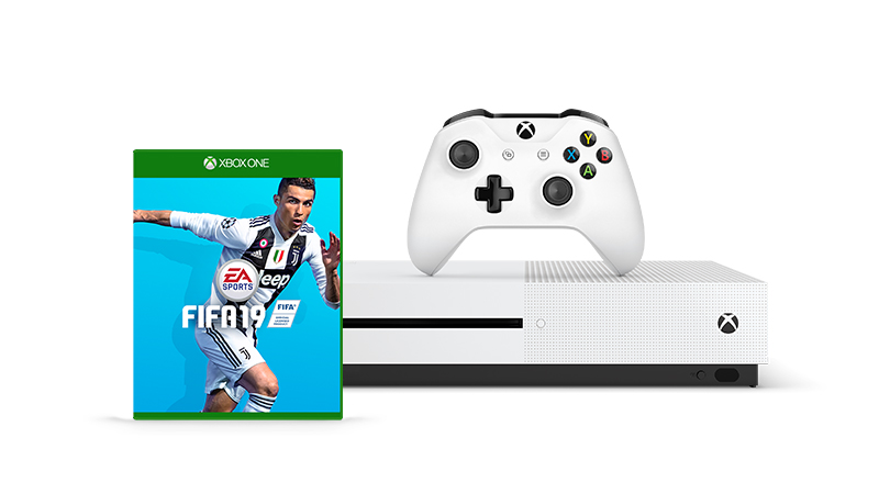 Get an Xbox One S and an additional game like FIFA 19, starting at €XXX