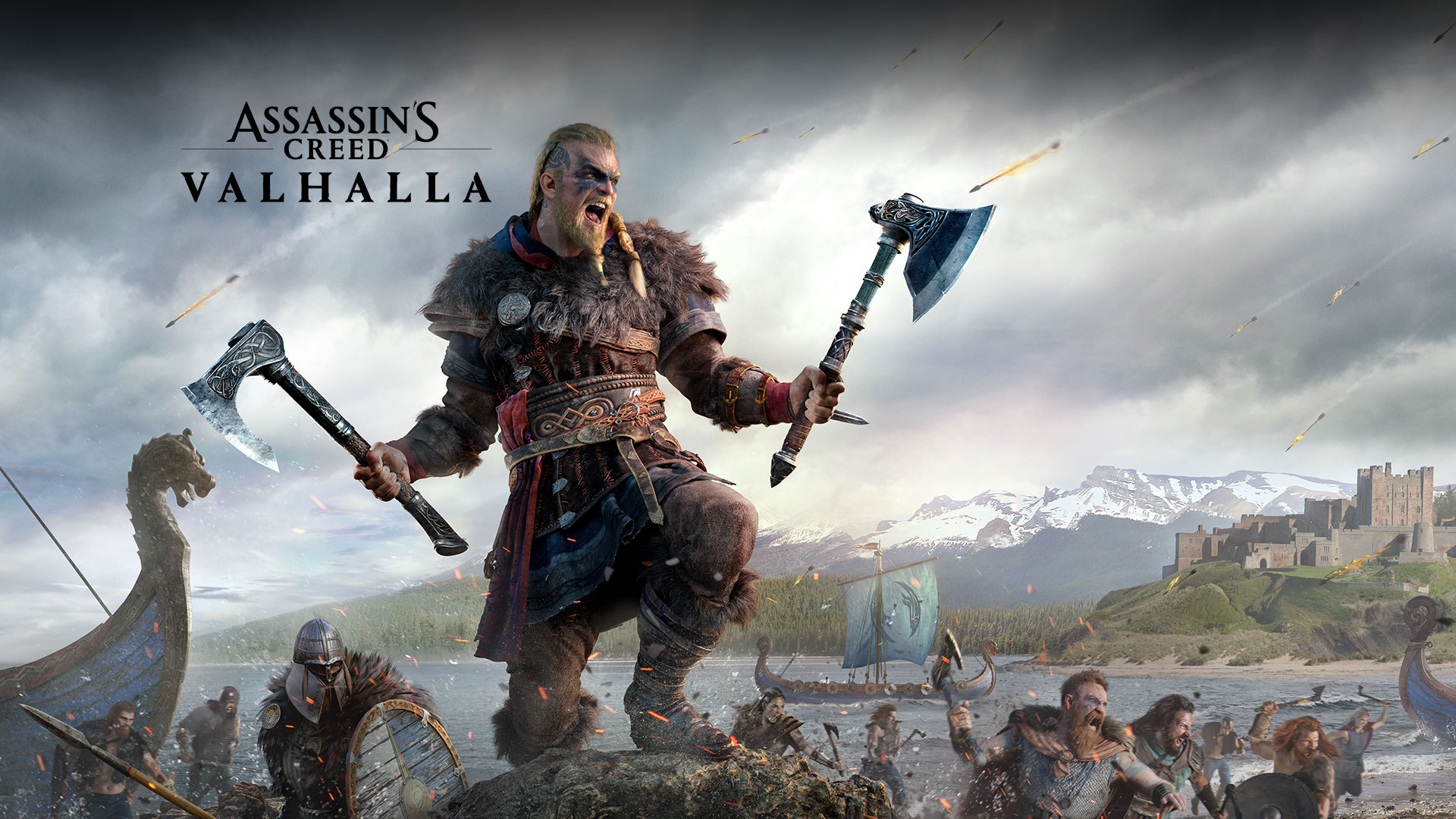 Assassin's Creed Valhalla, character with two axes during battle