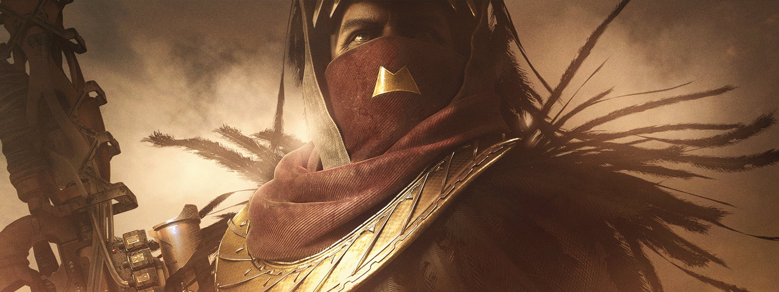Front view of Osiris holding a gun in his right hand