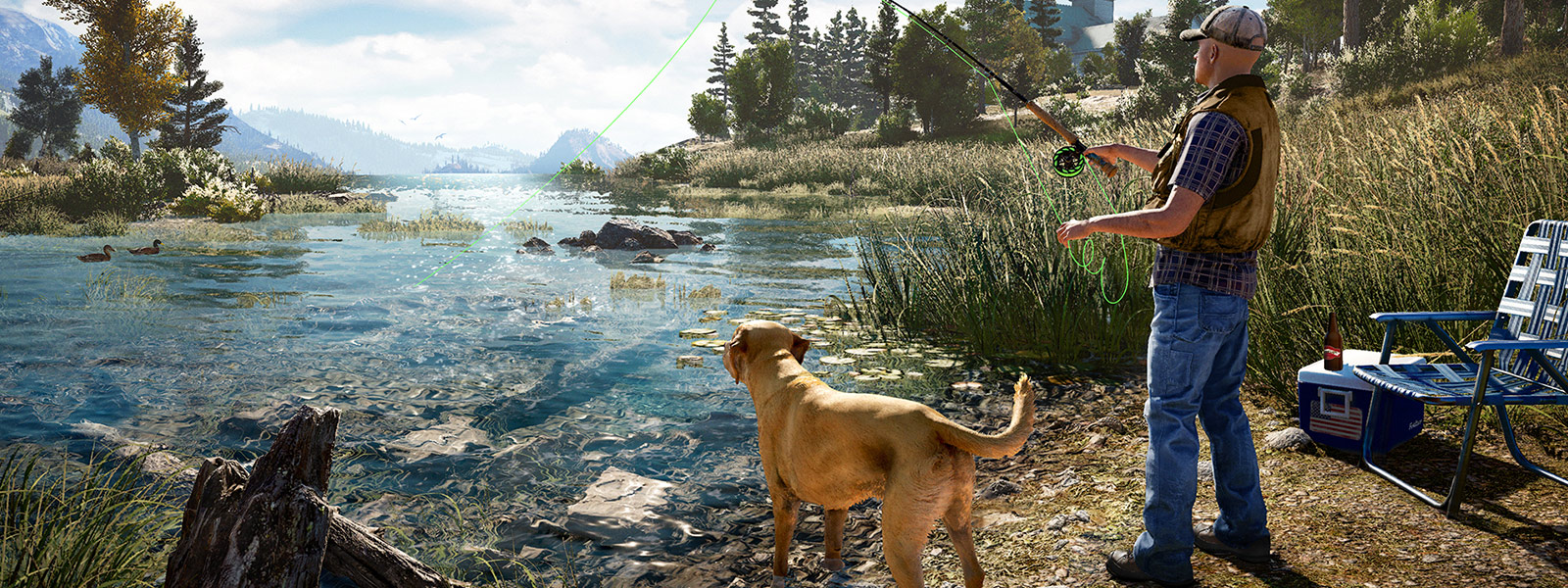 A man fly fishing with his dog on a river