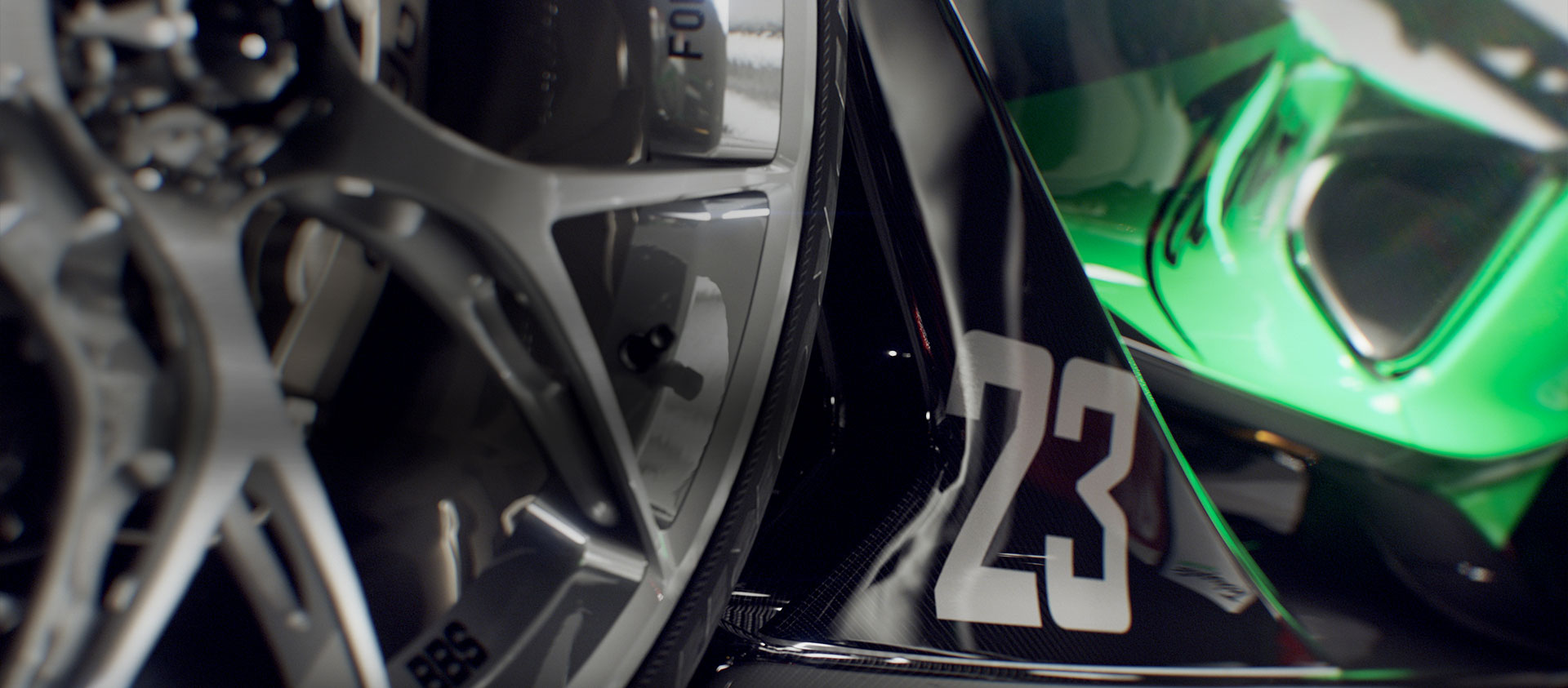The number 23 is featured on the side of a performance car.
