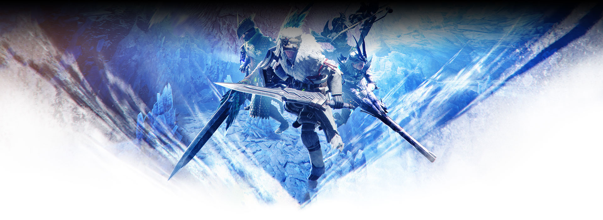 Hunters stand back to back in front of an icy background