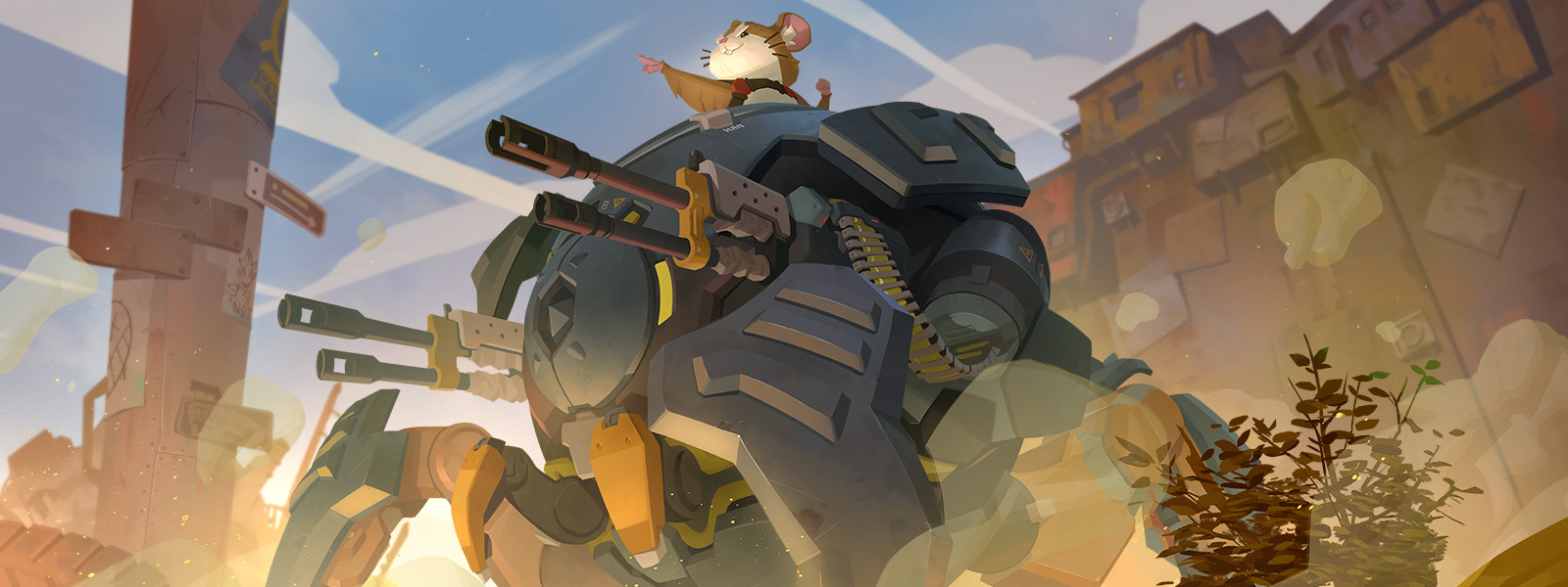 Side view of Hammond the Hamster in his mech