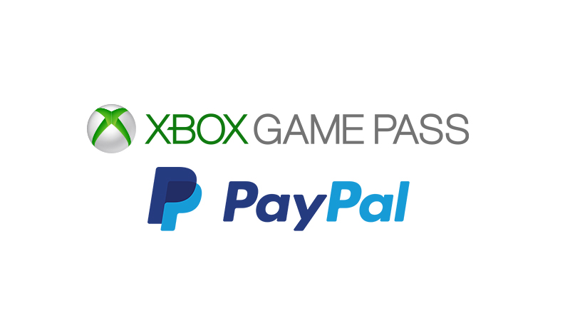 An image of the Xbox Game Pass logo above the PayPal logo
