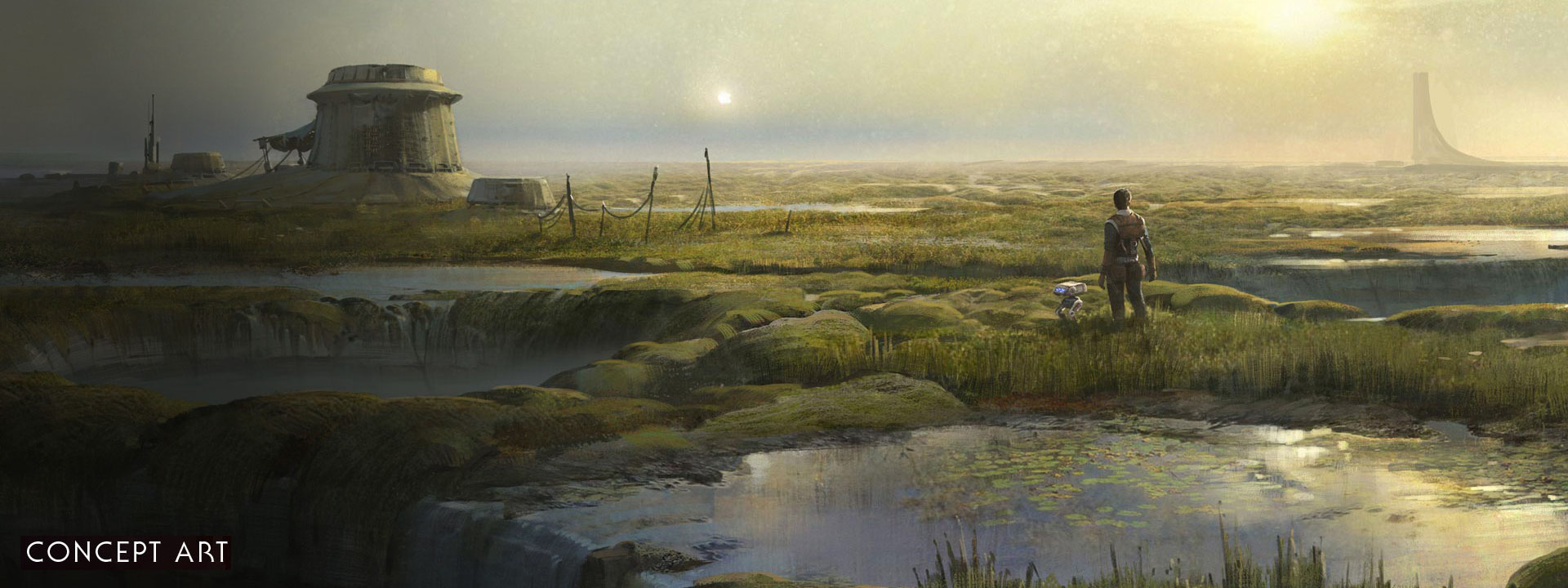 Concept art, a man and a bot stand in a flooded marshland