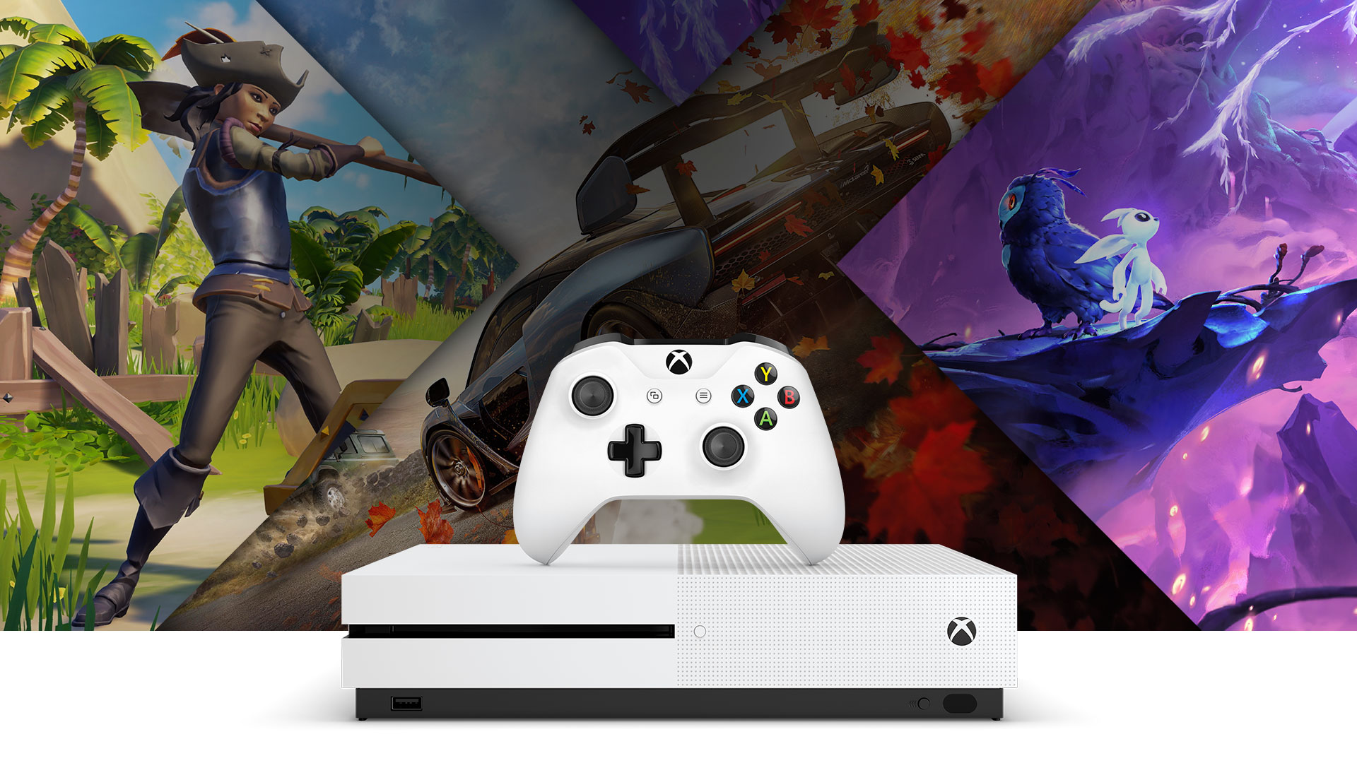 Vooraanzicht van de Xbox One S en een witte draadloze controller met daaromheen illustraties van Sea of Thieves, Forza Horizon 4, en Ori and the Will of Wisps