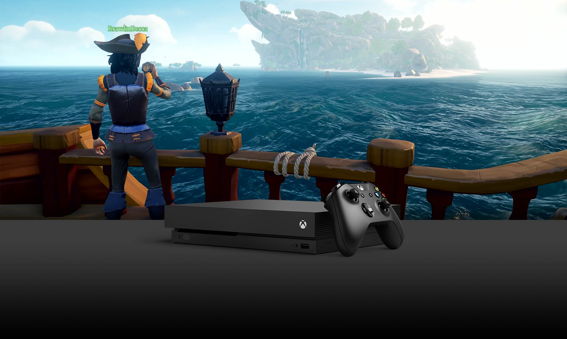 Pirate on a ship looking at an island in the distance, Xbox One X console in the foreground